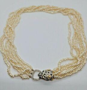 "Stunning Kenneth Jay Lane Panther Head W/Multi-Strand Fresh Water Pearls  31"""