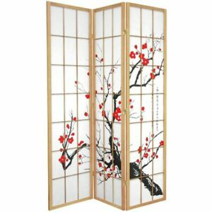 Cherry Blossom Room Divider Screen Natural 3 Panel