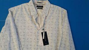 NWT Denim & Flower Mens  Long Sleeve White & Blue Geometric Shirt~Size XL ~ $58