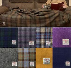 Harris Tweed Luxury Extra Large Pure Wool Throw Blanket Bedspread 150 x 200cm