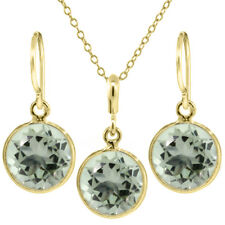 6.00 Ct Green Amethyst Yellow Gold Plated Silver Dangle Earrings Pendant Set 9mm