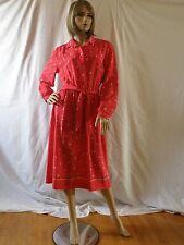 Vintage Lanvin Dress-Button Down-Tie Belt-Vibrant Red Print-Size 16-Designer