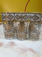 rare george briard gold embossed and frosted set of 6 highball glasses