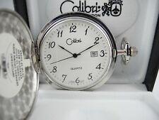 W/Date New Shield Clearance 2 Colibri Silvertone Pocket Watch Japan Movement