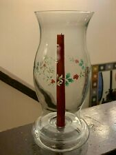 Clear Glass Hurricane Shade Globe Oil Lamp With Holiday Branch and Berry Pattern