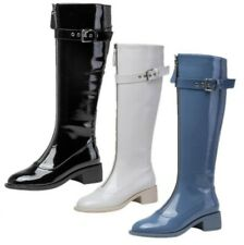 Hot Women Patent Leather Round Toe Low Heel Casaul Mid Calf Boots Winter Warm L