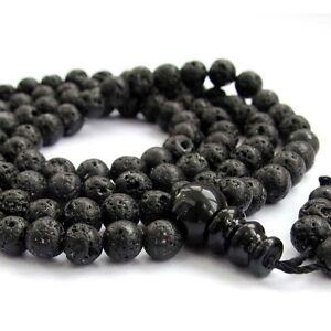 108 Black Volcano Stone Tibet Buddhist Prayer Beads Mala Necklace