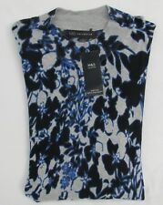 MARKS AND SPENCER GREY AND NAVY MIX FLORAL LONG SLEEVE HIGH NECK JUMPER SIZE 20