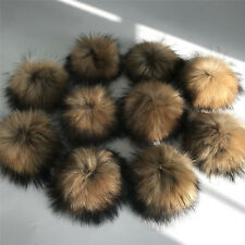 13cm Real Natural Raccoon Fur Pompom Ball w Snap Button DIY hat shoes accessory