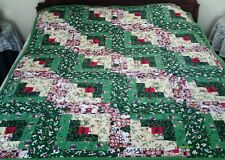 """51"""" x 63"""" Large - Christmas Green and Cream - Quilt/Throw (Cotton/Flannel) New"""