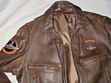 SCHOTT NYC Pebbled FLIGHT BOMBER Leather JACKET 44 USA AIRBORNE PILOT PATCH VTG