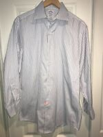 BROOKS BROTHERS  SZ 15.5-32 ALL EGYPTIAN COTTON LS PLAID SHIRT MADE in USA C21