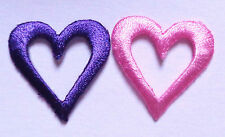 Embroidered Iron-On Applique Open Heart, 1 inch set of 2 ( purple and pink)