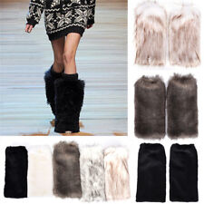 Lady Women Fluffy Fuzzy Faux Fur Fashion Dance Leg Warmers Muffs Boot Covers MW