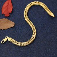 Men Women 18K Yellow Gold Plating Bracelet Bangle Chain Bracelets Unisex Jewelry