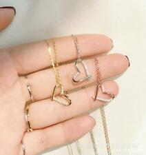 Love Heart Ring Silver SP/Rose Gold Pave CZ Pendant Chain Necklace