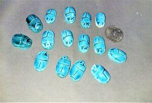 15 egyptian scarab beads beetle faience
