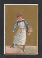 1890s  BAKER SELLING BREAD ON STREET ?? VICTORIAN TRADE CARD