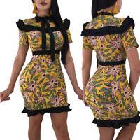 Women short sleeves ruffled print bodycon club party casual mini dress