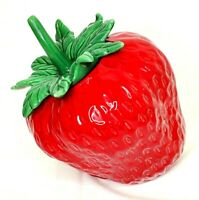 "Vintage Ceramic Tilted Strawberry Cookie Jar Huge 10x7"" Marked Holiday Designs"