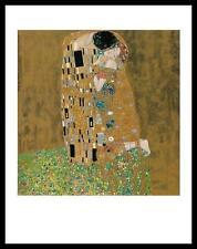 Gustav Klimt Der Kuss Poster Bild Kunstdruck mit Alu Rahmen in schwarz 80x60cm