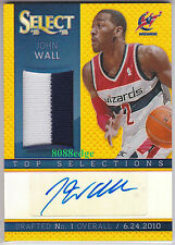 2013-14 SELECT TOP SELECTIONS PATCH AUTO: JOHN WALL #3/10 AUTOGRAPH GOLD WIZARDS
