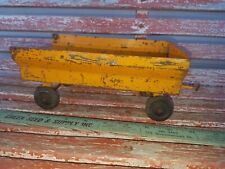 Vintage Metal Tractor Toy Orange Yellow Wagon Unknown Maker
