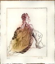 Radierung Lady with Skull  Kaltnadelradierung #5 drypoint etching Tiefdruck limi