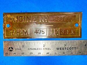 Brass Tag 3 hp EK Economy Hercules Jaeger Hit Miss Engine Name Plate