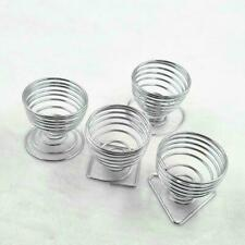 1/4pcs Metal Egg Cup Spiral Hard Boiled Spring Holder Cups Breakfast Egg Q2E0