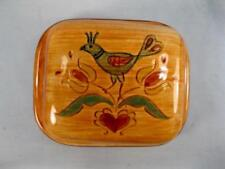 Pennsbury Pottery Butter Dish Pea Hen Square Covered Tulips Flowers Heart (O2)