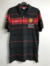 Nike Manchester United AIG Polo Shirt, 2009/10 Charcoal/Red/Black Stripe, M, VGC