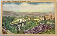 Arroyo Seco Bridge Pasadena California CA Vintage Postcard City View Linen