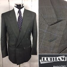 Lux LUBIAM LBM Wool Peak Lapel Prince Of Wales Plaid Double Breasted Blazer 38 R