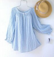 New~$66~Blue & White Gingham Check Peasant Blouse Cotton Plus Size Boho Top~1X