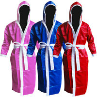 Martial Art Boxing Gown  Hooded Satin Robe Gown Children , Youth , Adults