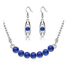Royal Blue & Silver Crystal Bridal Jewellery Set Drop Earrings & Necklace S561