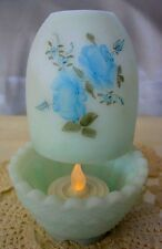 "FENTON GLASS""MINT~VINTAGE~70s""ROSES ON BLUE SATIN""BURMESE""3pc""FAIRY LIGHT/LAMP"