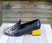 Shishang Loafers Block Heel Buckle Blue Leather Snakeskin Womens US 9M