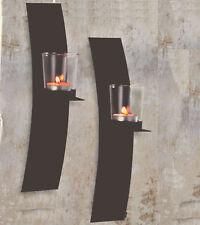 Dekorative Wandkerzenhalter für Teelichter 2er Set aus Metall für Teelichter