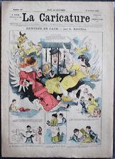 """Albert ROBIDA Journal LA CARICATURE N°94 1881 couv. couleurs """"Rentrée en Cage"""""""