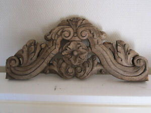 super antique oak carving french pediment