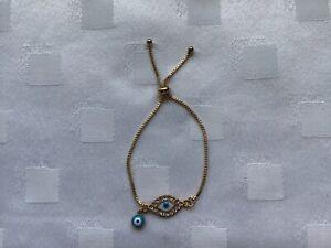 BLUE WHITE  CRYSTAL GREEK TURKISH  GOLD EVIL EYE CHAIN ADJUSTABLE BRACELET