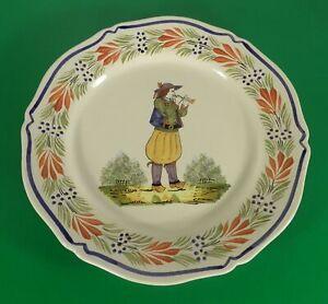 Vintage Henriot Quimper a La Touche Border Scalloped Dinner Plate Breton Man #1