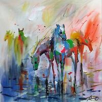 100%HAND-PAINTED ART ACRYLIC OIL PAINTING ANIMAL HORSE 16X16INCH CANVAS