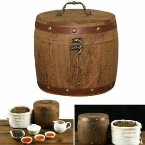 Retro Wooden Canister Storage Barrel Box Tea Leaf Flour Coffee Bean Nuts Spices