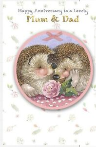 Hallmark Country Companions Mum and Dad Anniversary Card Hedgehog