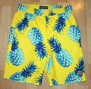 Abercrombie Kids Youth Boys Yellow Pineapple Swim Shorts Trunks New NWOY 15/16