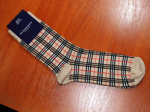 2 PAIRS of BURBERRY Beige Socks Cotton Check M UK 6-8.5 / 39-42
