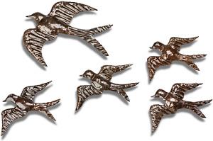 Metal Swallows Garden Ornament Sculpture Art - Handmade Recycled Metal Bird